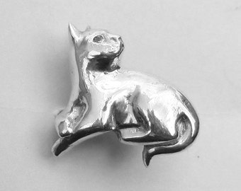 Cat sculptire ring, fine silver cat ring, sterling cat ring, british shorthair cat ring, cat ring, cat jewelry, cat lover gift, size 8 ring