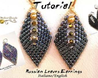 Russian Leaf Earrings version 1-2-3  (with the Mini DuosTutorial graphics pictures in Italian and English in 2 File PDF for language)