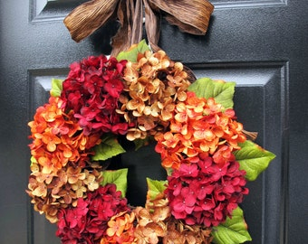 Autumn Wreaths, Fall Hydrangea Wreath, Fall Wreaths, Fall Hydrangeas, Front Door Wreaths, Orange Pumpkins Wreath, Holidays, Hydrangea Wreath
