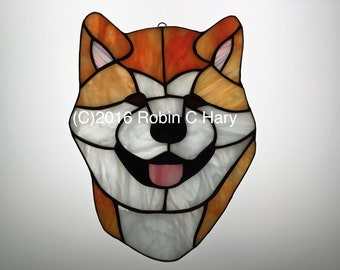 Akita Suncatcher in Stained Glass
