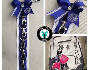 Cheer Bow Holder Klinger™ Backpack Strap, Blue Black White Personalized, Dance Accessory, Gymnastics, Bow Display, Cheer Bag, Sale!