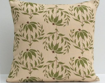 Beige Pillow, Throw Pillow Cover, Decorative Pillow Cover, Cushion Cover, Pillowcase, Accent Pillow, Toss Pillow, Linen, Green Floral Pillow