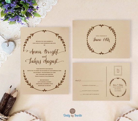 Cheap Rustic Wedding Invitation Kits: Kraft Wedding Invitation Kits Printed Rustic Wreath Wedding