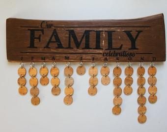 Wooden family calendar / family celebrations board / birthday board / birthday reminder