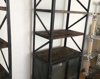 Cabinet industrial raw wood and steel bookcase
