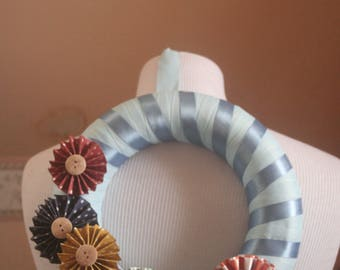 Handmade Pinwheel Flower Wreath