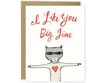 Funny Love Card, Anniversary Card, Funny Friend Card, I Like You Card, Animal Card, Cute Love Card, For Her, For Him, Boyfriend Card, Wife