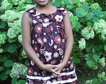 Infant / Girls Brown Paisley Print Dress