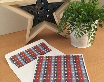 Set of 12 Red, White & Blue Star Note Cards and Envelopes