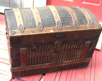 Steamer trunk etsy antique dome top steamer trunk alligator skin pressed tin yale and towne lock vintage treasure chest gumiabroncs