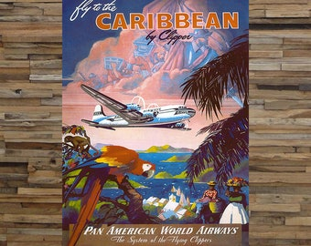 Fly To The Caribbean Vintage Travel Ad, Pan American World Airways, Airline Travel Ad, Vintage Art, Giclee Art Print, fine Art Reproduction
