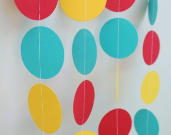 Birthday Decoration- Paper Garland . red,teal and yellow. 5ft long
