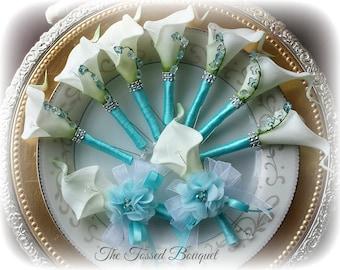 Men Boutonniere, Set, Blue, White, Flower Wedding Bridal Lapel Pin, Groom, Mother Corsage, Buttonhole, Boutineer, Beach, Destination, Prom