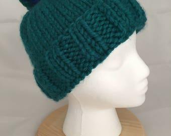 Chunky knit fold brim pom beanie