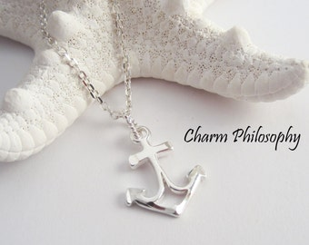 Anchor Necklace - Small Anchor Charm Pendant - 925 Sterling Silver Jewelry - Everyday Necklace - Ocean Jewelry