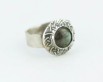 Captured Labradorite Textured Sterling Silver Ring