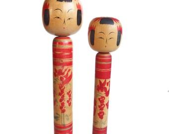 Tall Vintage Kokeshi Dolls. Traditional (Dento) Kokeshi, Yamagata Style. Japanese Kokeshi Doll. Japanese Doll. Kokeshi Doll. Wood. Japan.