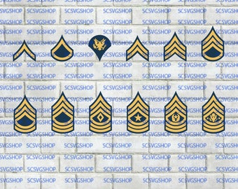 Army Stripe Bundle svg, E-2 thru E-9, First Sgt, Sergeant Major, Cut File, Military, Silhouette File, SVG, DIY, Cricut, Vector