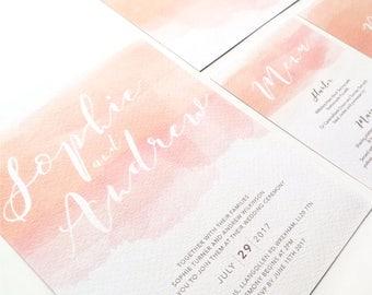 Blush watercolour wedding invitation | Wedding invitations | Wedding invites | Watercolour wedding invitations | BLUSH |