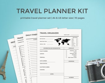 Travel Planner Kit Travel Journal A4 & Letter Size Vacation Organizer Packing List Organizer Trip Planner Printable Planner Instant Download