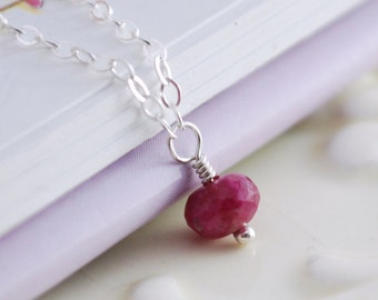 Genuine Ruby Necklace, Sterling Silver, July Birthstone, Precious Stone, Dark Red, Simple Child's Jewelry
