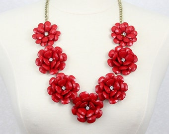 Beaded Rose Necklace Chunky Flower Statement Necklace Red Flower Necklace Red Rose Necklace Red Necklace Red Statement Necklace