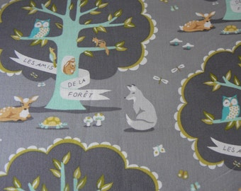 Les Amis in Gray Cotton Fabric by Michael Miller - 1 Yard