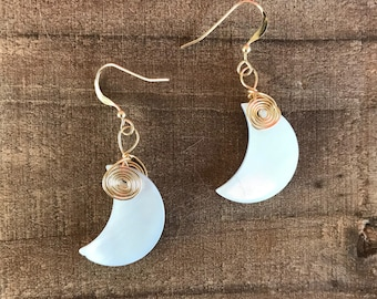 "The ""Nadiyah"" 14k gold filled mother of pearl moon earrings"