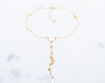 Haloa necklace - gold Y necklace, gold lariat necklace, gold bar necklace, delicate Y necklace,delicate lariat necklace,gold choker necklace