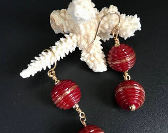 Red ridged goldstone lampwork glass bead earrings