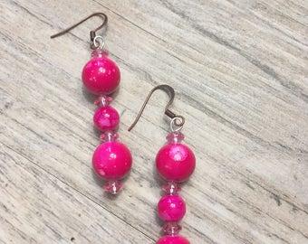 Pink marbled ceramic beaded earrings