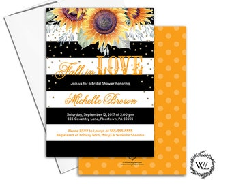 Sunflower bridal shower invitation sunflower invites, fall bridal shower invitations, black white stripe flower printable printed - WLP00651