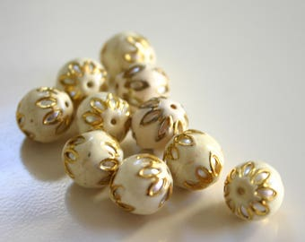 SALE Ivory White spheres - Floral Cloisonné Meena beads (2) 13mm