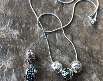 16 inch Silver Necklace; Green, Blue, Pink, Silver Necklace