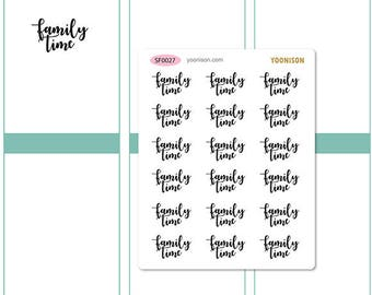 Family Time Word Planner Stickers Erin Condren Kikki K Filofax Happy Planner Travelers Notebook Midori SF0027