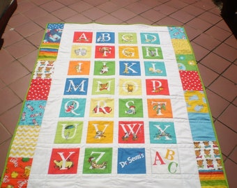 Alphabet Baby Quilt, handmade, I Spy Quilt, Baby boy or girl quilt bedding, crib quilt, ABC, Dr.Seuss, Bright colors, Toddler, ABC and you