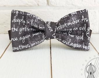 Black Bow Tie, Black and white bowtie, Сursive, Men's bow tie, Women's bow tie, Children's bow tie