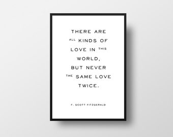 Love in this world, F Scott Fitzgerald, Typography, Art Print, All kinds of Love, Love Quote, Typographical Art, Vintage Book Quote