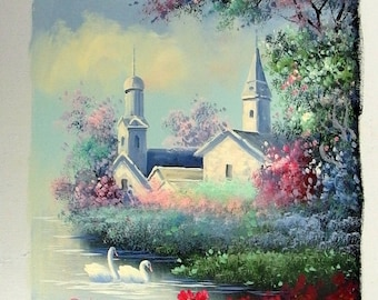 L. Russel Original Oil on Canvas Painting Building by Water Swans Unstretched