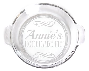 Personalized Engraved 9in Pie Plate with handles baking dish for your kitchen etching 7445 Circle  Design with Homemade Pie Personalized