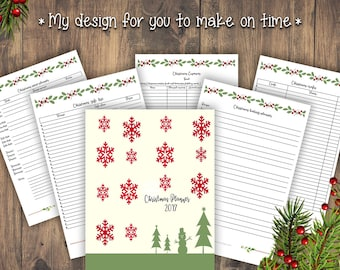 2017 Christmas Planner, Printable Planner, Christmas Organizer,To do list,Digital Download,A4,A5,US letter