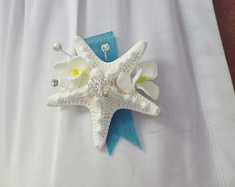 Beach Starfish Wedding Boutonniere or Corsage - Your Choice of Ribbon - Beach Wedding Flowers
