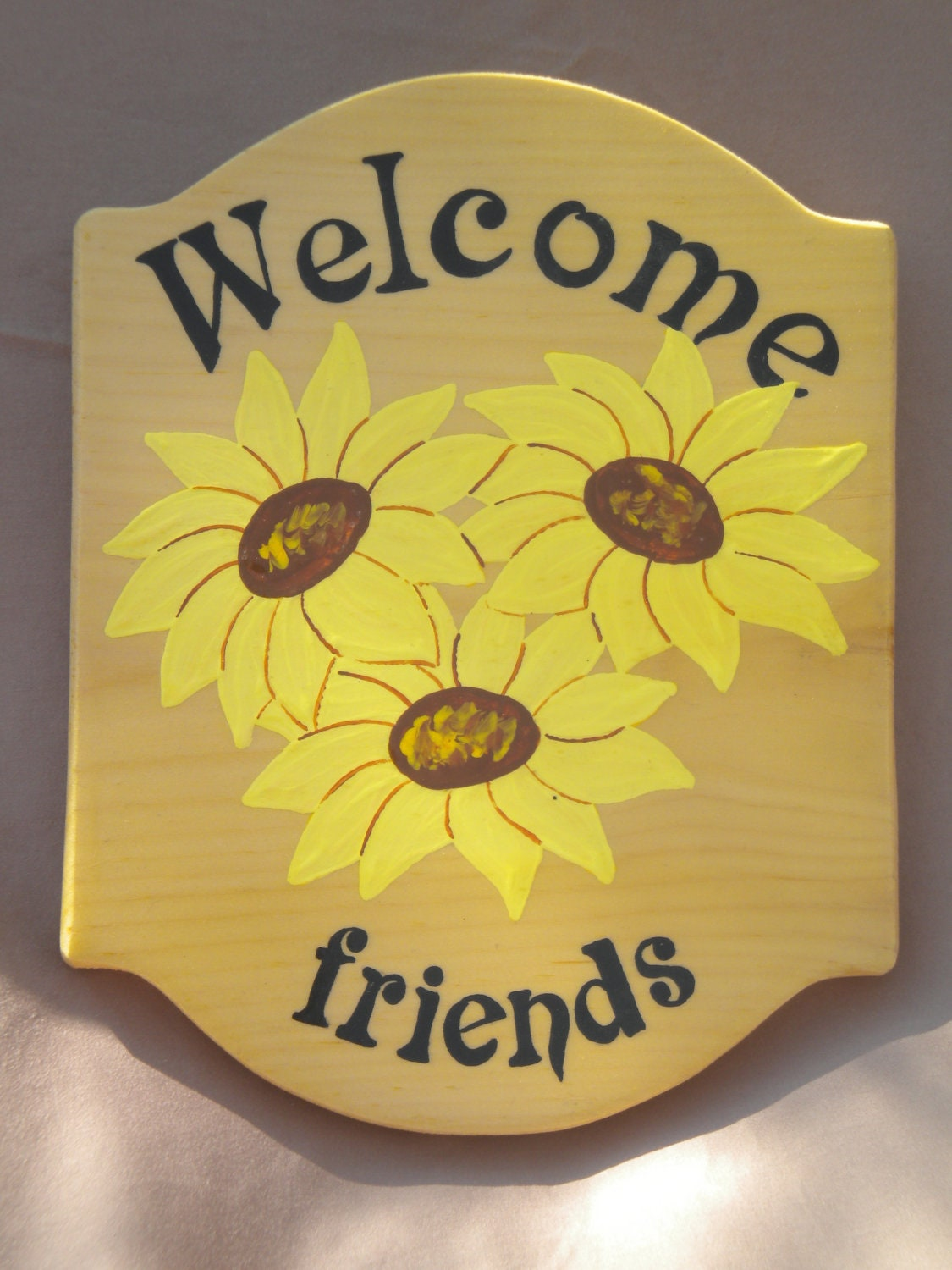 wood welcome sign welcome sign sunflower sign porch sign