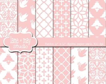 digital scrapbook papers - baby pink baptism - INSTANT DOWNLOAD