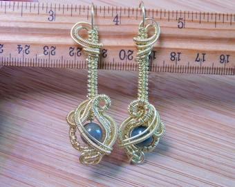 Green Bloodstone Bead Bare Yellow Brass Wire Wrapped Dangle Earrings Renaissance Chandelier Style Gemstone Beads Handcrafted