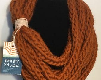 Burnt orange chunky merino scarf