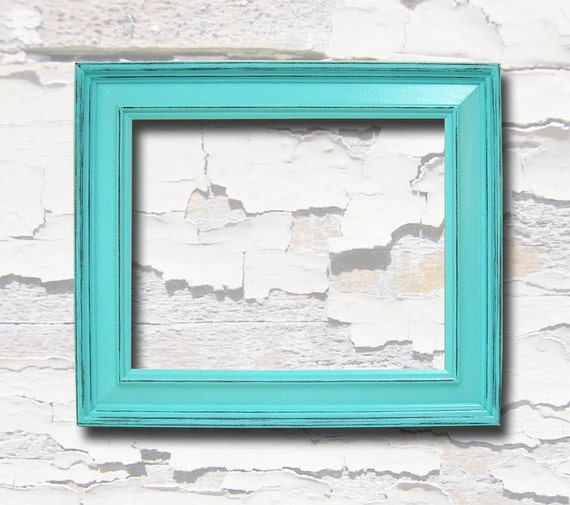Picture Frames 8x10 Chunky Wood Frame Shabby Chic Turquoise or ...