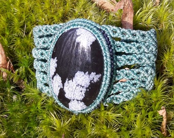 Snowflake Obsidian macrame bracelet.