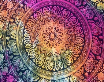 Round Boho Ethnic Mandala Throw, Beach Towel, Picnic Blanket, Tablecloth