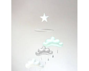 Arctic Mint and grey nursery mobile baby, nursery mobile,mint nursery décor,baby mobile clouds,nursery,mobile,Star & Cloud Ceiling Mobile